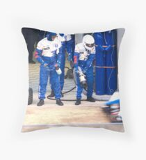 Pit stop for the Peugeot 908 HDI Throw Pillow