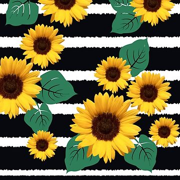 Sunflowers Leaves and Navy Blue Jagged Stripe by jocelynsart