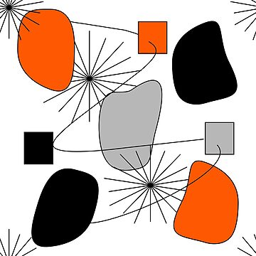Orange Grey Black Mix Modern Geometric Pattern by Artification