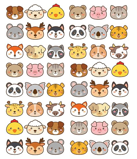 Image of: Animals Stickers Cute Kawaii Animals Redbubble Cute Kawaii Animals