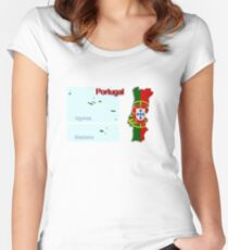 Map of Portugal 2.5 Women's Fitted Scoop T-Shirt