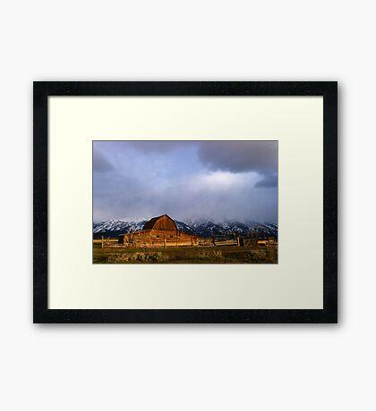 Moulton Barn, Mormon Row - Teton Sunrise Framed Print