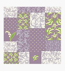 Lily-of-the-Valley Faux Patchwork Mauve Photographic Print