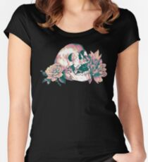 Floral Skull Women's Fitted Scoop T-Shirt
