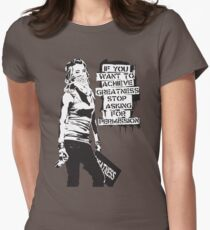 Banksy quote graffiti If You Want to Achieve Greatness stop asking for permission black and white with Banksy tag signature Women's Fitted T-Shirt