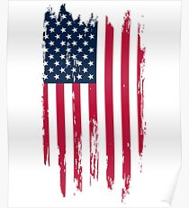 Vintage Distressed American Flag T-Shirts & Stickers Poster