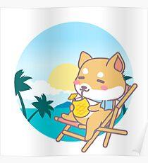 Cute Shiba Inu Beach Poster