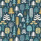 Snowy woods on dark blue background by MirabellePrint