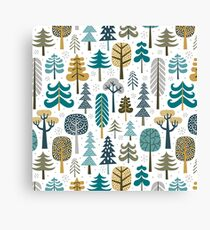 Snowy woods on white background Canvas Print