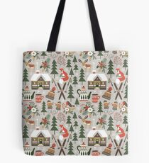 Cozy Chalet on light grey background Tote Bag