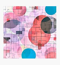 geometric square and circle pattern abstract in red pink blue Photographic Print