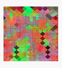 geometric square pixel pattern abstract in green orange red Photographic Print