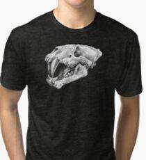 Xenosmilus sabertooth cat skull   Pencil Art Tri-blend T-Shirt