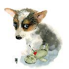 « Petit chien et sa poupée vaudou » par Castel Yvonne