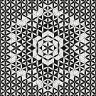 Flower of Life Black White Pattern 8 by Cveta