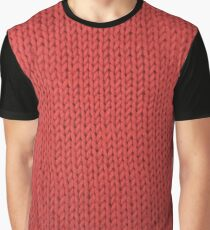 Red Knit Graphic T-Shirt