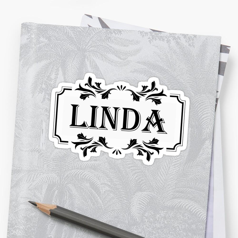 Pegatinas «Nombre del marco Linda» de PM-Names | Redbubble