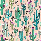Cute blooming vector cactuses on peach background by MirabellePrint