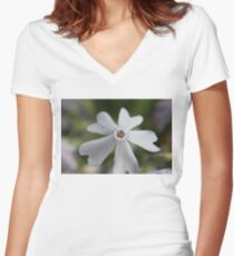 White Flower Close Up Women's Fitted V-Neck T-Shirt