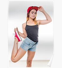 Flexible female teen with red baseball cap wearing black top  Poster