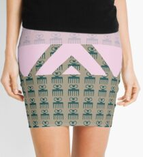 Duafe - Wooden Comb - Adinkra symbol pink touch Mini Skirt