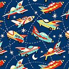 Vintage space cars on navy background by MirabellePrint