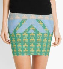 Duafe - Wooden Comb - Adinkra symbol pink green touch Mini Skirt