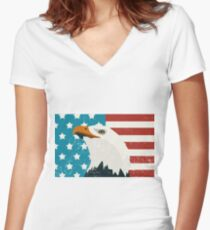 American Eagle & Flag Women's Fitted V-Neck T-Shirt