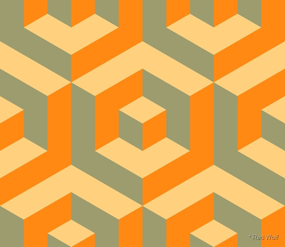 Geometric Pattern: Cube Inset: Orange by * Red Wolf