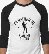 Time Is Precious Guitar T-Shirt - Cool Funny Nerdy Guitar Guitarist Teacher Musician Humor Statement Graphic Image Quote Tee Shirt Gift Men's Baseball ¾ T-Shirt
