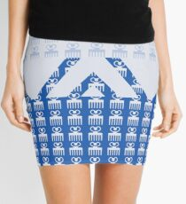 Duafe - Wooden Comb - Adinkra symbol blue touch Mini Skirt