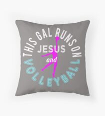 Cute Christian Bible Lovers Gift This Girl Loves Jesus and Volleyball Throw Pillow