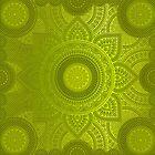 """Green Lemon Pattern Mandala Polka Dots"" by MarCanton"