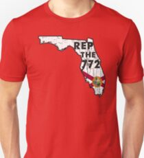 REP THE 772 - POPULAR DISTRESSED DESIGN WITH STATE FLAG AND AREA CODE 772 Unisex T-Shirt