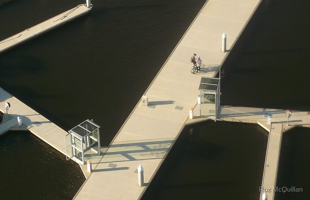 Two Cyclists, Docklands by Roz McQuillan
