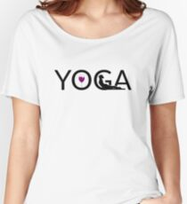 Yoga and Wine Funny Wine Graphics Yoga Lover T-Shirt Women's Relaxed Fit T-Shirt