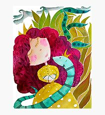 Cute cartoon girl - Egle queen with letter E, baby and snake Photographic Print