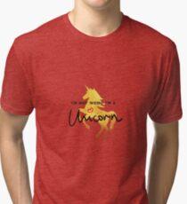 Golden unicorn  T shirt graphics slogan Tri-blend T-Shirt