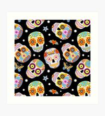 Sugar skulls on black Art Print
