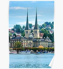 View of historic Luzern city center Poster