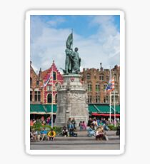 Monument on the main square in Bruges. Sticker