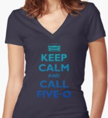 Keep Calm and Call Five-O (Sea Grad) Women's Fitted V-Neck T-Shirt