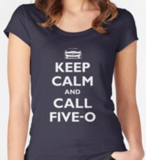 Keep Calm and Call Five-O (White) Women's Fitted Scoop T-Shirt