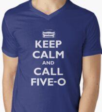 Keep Calm and Call Five-O (White) Men's V-Neck T-Shirt