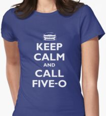 Keep Calm and Call Five-O (White) Women's Fitted T-Shirt