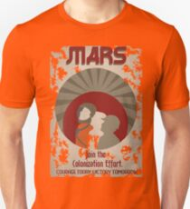Weinleseart Mars Plakat Slim Fit T-Shirt