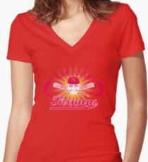 Honolulu Shrimps Baseball Team Logo Women's Fitted V-Neck T-Shirt
