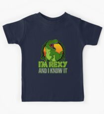 Dinosaur T-Rex Funny I'm Rexy And I Know It Kids Tee