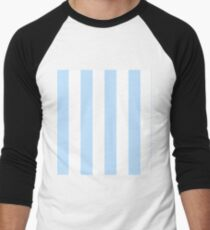 Classic Seersucker Stripes in Blue + White Men's Baseball ¾ T-Shirt