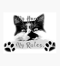 gxp cat my home my rules vector art black white gray Photographic Print